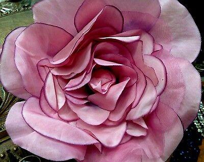 "VINTAGE silk organza 8"" PLUM  XLarge ROSE CZECH FLOWER 1950's"