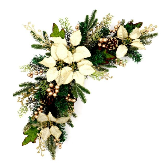 Christmas Swag.Aleko Wall Door Decorative Arched Holiday Christmas Swag Green And Ivory