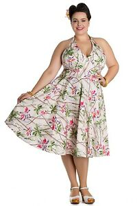 Hell-Bunny-Bamboo-and-Floral-50-039-s-Retro-Tiki-Tropical-Beach-Party-Dress