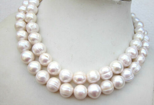 "Énorme 35/"" AAA 11-13 mm South Sea Blanc Perle Baroque Collier Or 14K Fermoir t1"