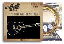 ¡ nuevo! abelli Studio Bronce Y Acero Guitarra Acústica Cuerdas Set, 12-52 Medidor De Luz