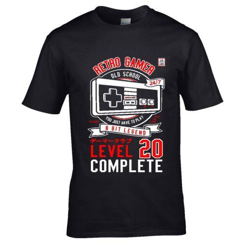 Fun Jeu Retro Gamer niveau 20 complet pour 20th Anniversaire T-Shirt Homme Top Cadeau