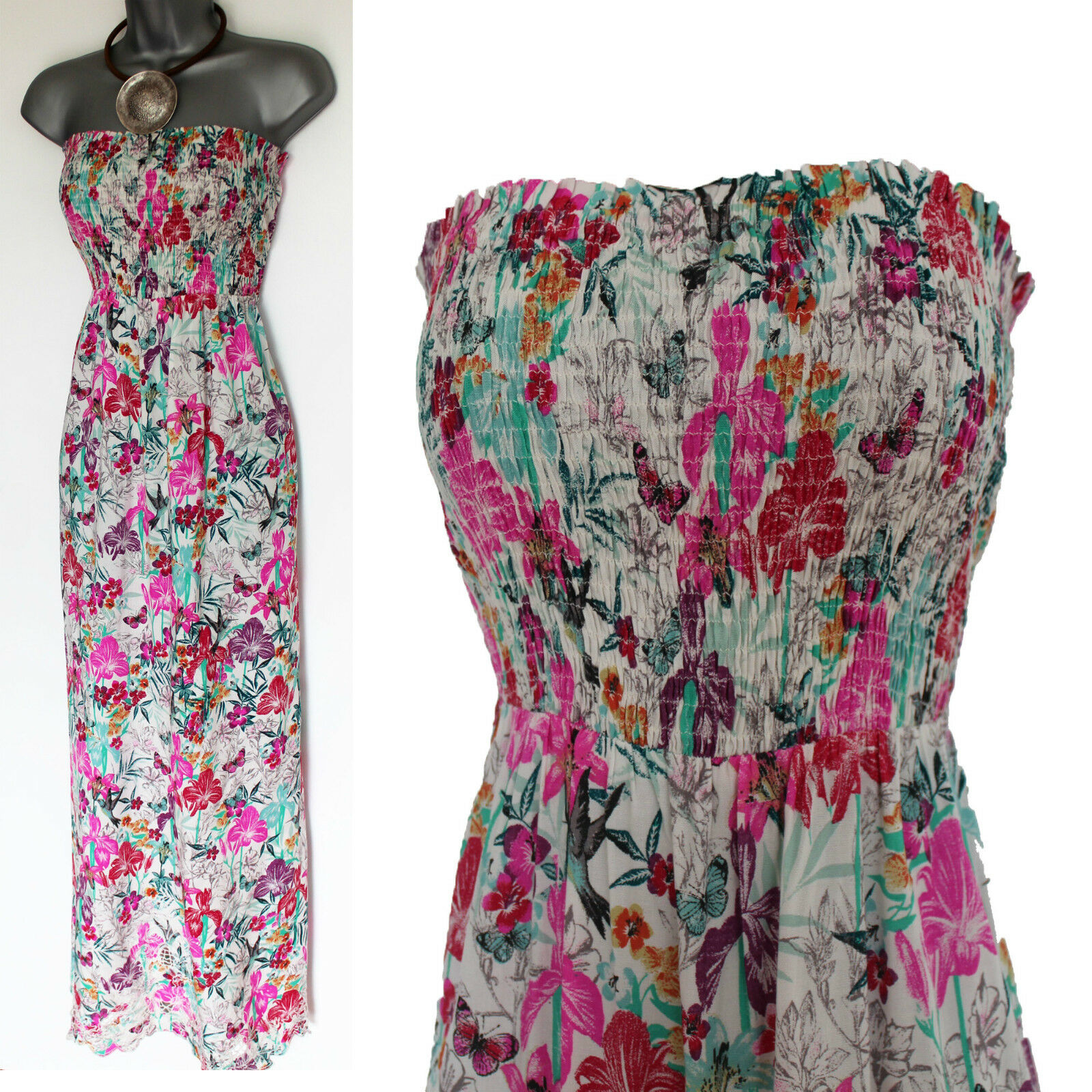 MONSOON Floral Print Embroidered Strapless Beach Summer Maxi Dress S Holiday