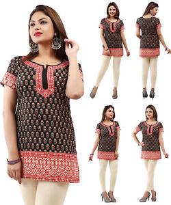 UK-STOCK-American-Crepe-Bollywood-Indian-Short-Kurti-Tunic-Kurta-Top-Shirt-56HD