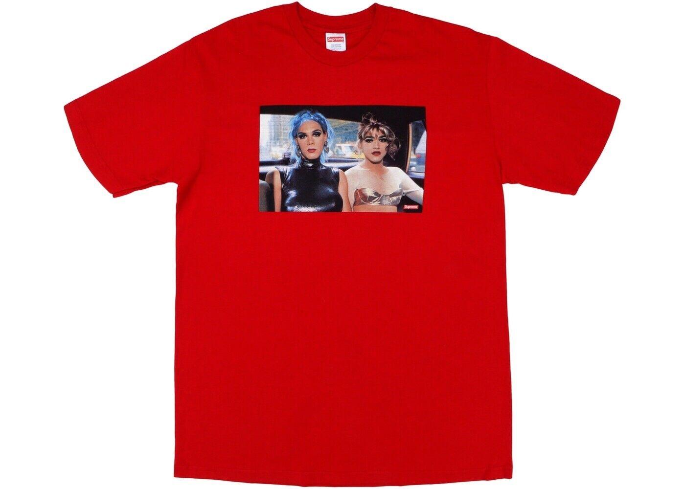 Supreme x Nan goldin Misty & Jimmy Paulette Tee Shirt Size Large L Red SS18