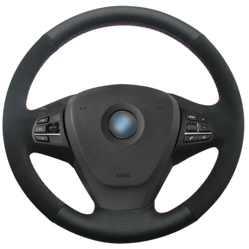 DIY Leather Suede Steering Wheel Cover for BMW F25 X3 2011-17 F15 X5 2014 BM38
