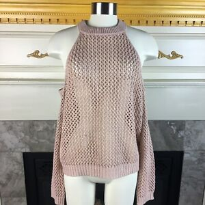 MILLAU-Womens-S-Light-Pink-Cold-Shoulder-Loose-Open-Knit-Oversized-Sweater
