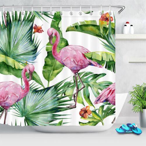 "Pink Flamingo Summer Tropical Paradise Waterproof Fabric Shower Curtain Set 72/"""
