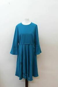 HOBBS-Ladies-Teal-Blue-3-4-Peplum-Sleeve-Crew-Neck-Samantha-Dress-UK12-EU40-NEW