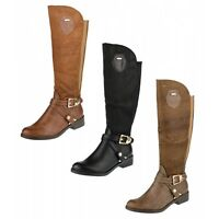 S483 - Ladies Faux Croc Under Knee Stretch Back Riding Boots - Uk 3 - 8