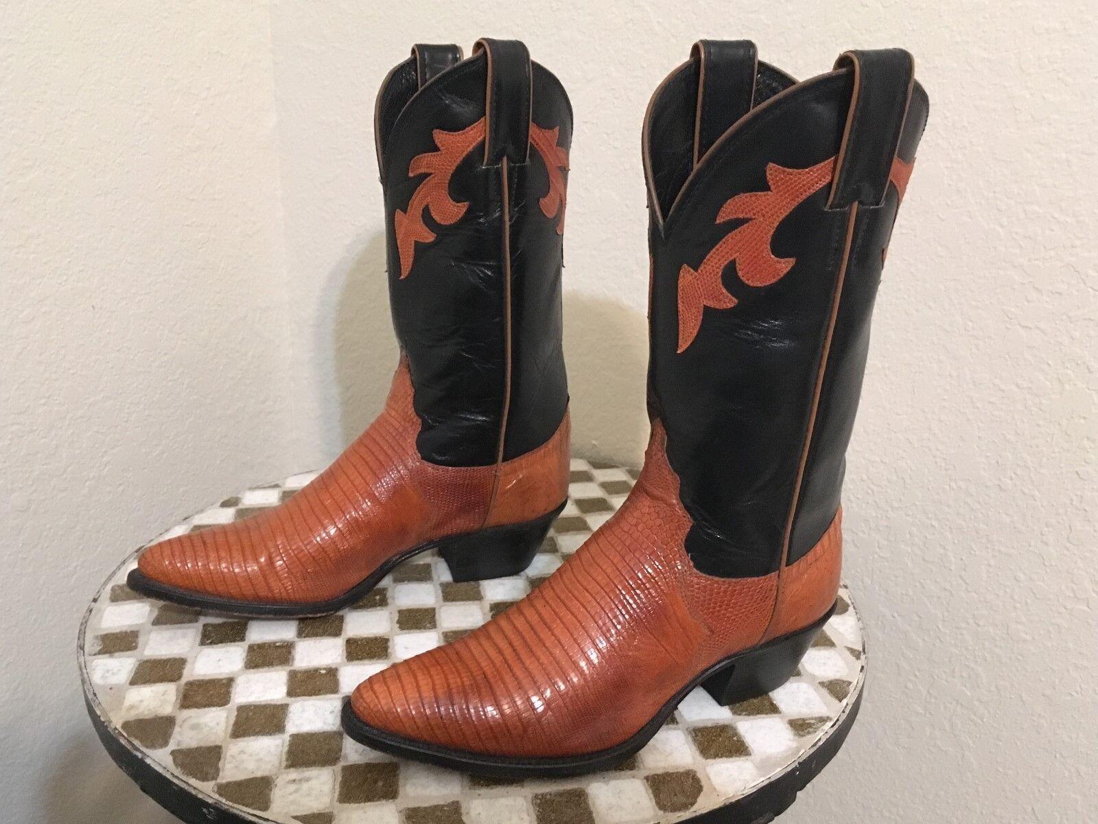 USA JUSTIN COGNAC LIZARD  WESTERN COWBOY ROCKABILLY TRAIL BOSS DANCE BOOTS 5.5 B