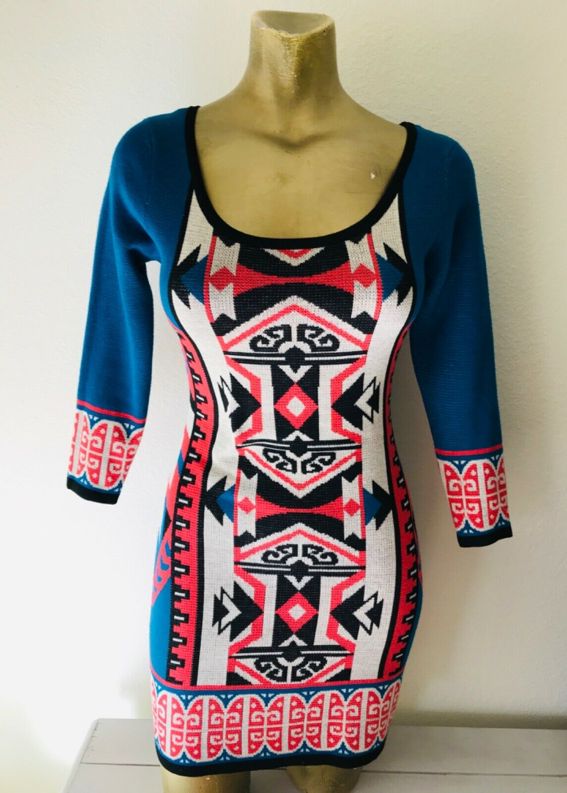 FLYING TOMATO Tribal Print Knit DRESS XS - image 3