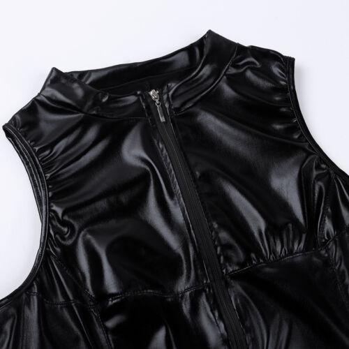 Womens Wet Look PU Leather Mini Dress Sleeveless Bodycon Clubwear Fancy Costume