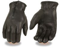 Men's Deer Skin Winter Driving Gloves Very Soft Leather With Zipper Lined Blk