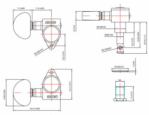 Grover 102N  Original Rotomatic Tuners 3 3 Nickel Finish