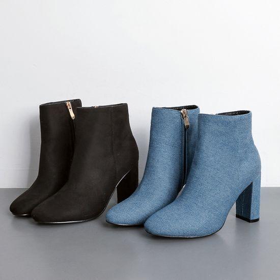 Bottes stivaletti noir denim bleu elegante tacco quadrato 9 pelle sintetica 8910