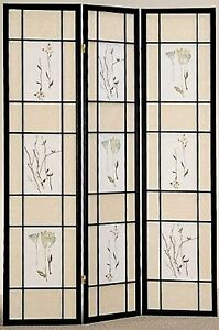 4-amp-3-Panel-Wood-Room-Divider-Screen-Flowered-Shoji