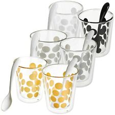 4 PCS Coffee Glasses Tea Mug Set Double Wall Heat Resistant Drinking Cups Spoons