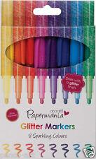 Docrafts Papermania sparkling glitter felt tip marker Pen set Pack of 8 pens