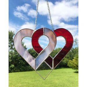 c77edaff6d1e Image is loading Handmade-Stained-Glass-Love-Heart-Suncatcher-Tiffany-Pink-