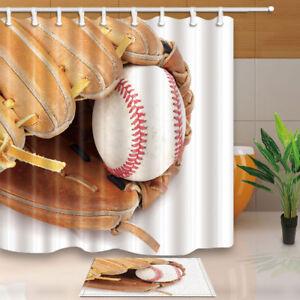 Image Is Loading Custom Vintage Baseball Shower Curtain Bathroom Decor Fabric