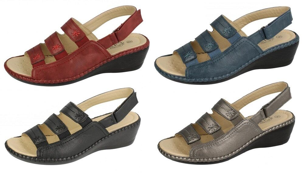 LADIES SANDALS MID SUMMER WEDGE HEEL ANKLE STRAP RIPTAPE FASTENING SUMMER MID SHOES F3106 0862e4