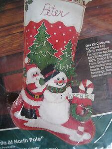 North Pole Santa Bucilla Felt Applique Christmas Stocking Kit 18