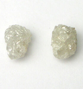2 Carats 2 WHITE Uncut Natural Rough Diamonds PAIR