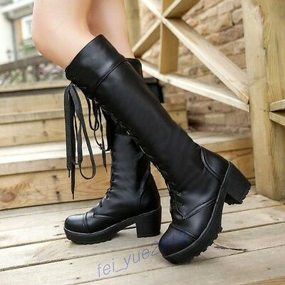 Ladies Punk Lace-Up Gothic Rivet Buckle Chunky Heels Platform Knee-High Boots