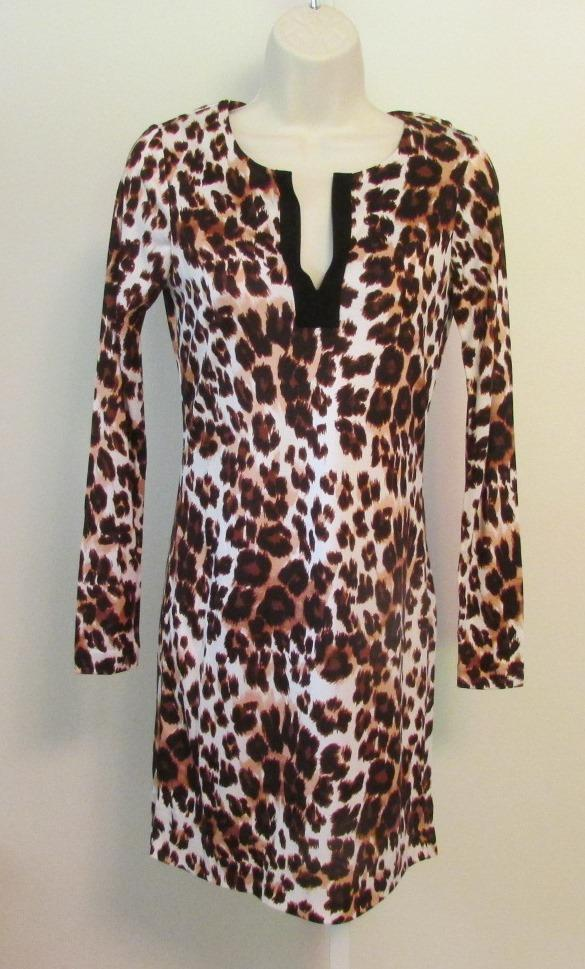Diane von Furstenberg Reina Snow Cheetah Large Neutral tunic dress 12 braun DVF