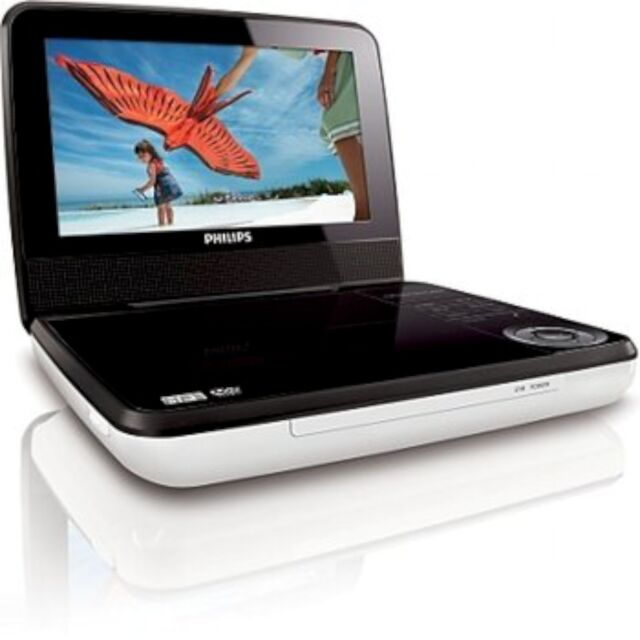 """Philips PET741W/37 White/Black Widescreen 7"""" LCD Car/Home Portable DVD Player"""