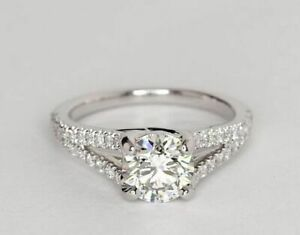 1.20 Ct Round Moissanite Engagement Ring Real 18K Solid White Gold ring Size 4 5