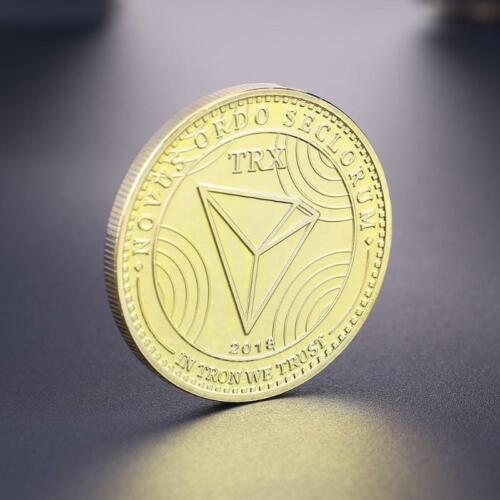 TRX TRON Cryptocurrency Virtual Currency Gold Plated CoinBITCOIN