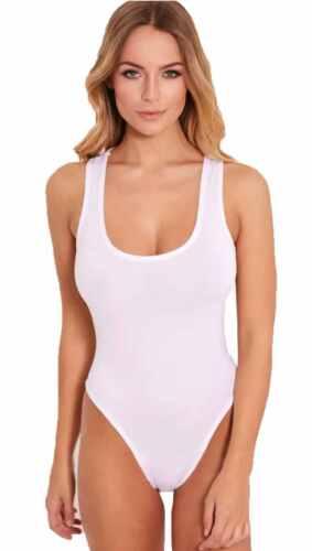 Women Ladies Racer Muscle Back Sleeveless Stretch Bodysuit Leotard Vest Top 8-14