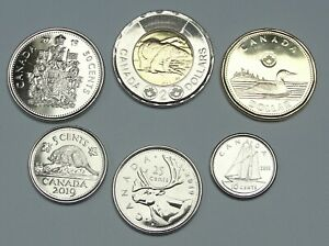 6 COINS CANADA 2015 COMPLETE COIN SET 5 CENTS TO 2 DOLLARS UNCIRCULATED