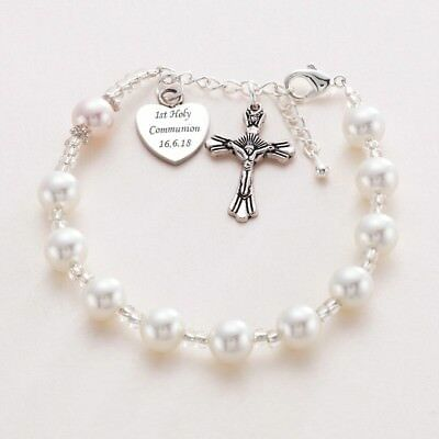 en soldes 26742 880ae Personalised Rosary Bracelet with Free Engraving! First Holy Communion Gift  . | eBay