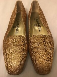 d5f06f79b3d ... Image is loading Authentic-Chanel-CC-Classic-Ballet-Gold-Flats ...