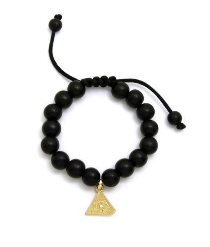 L/'EGYPTE PHARAON Nefertiti Charme Réglable 12 mm en Bois Perle Hip Hop Bracelet Ankh