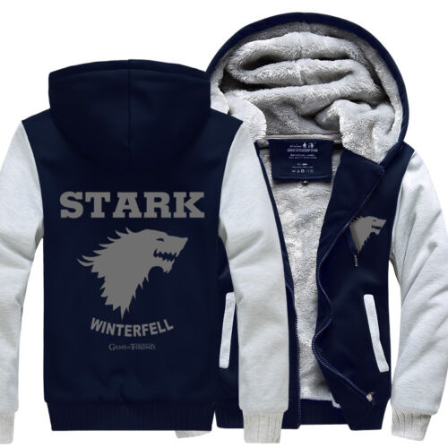 Game of Thrones House of Stark Direwolf Print Jacket Sweatshirts Thicken Hoodie