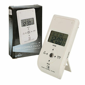 Radio-Controlled-White-Travel-Bedside-Digital-Alarm-Clock-Coloured-Backlight-NEW