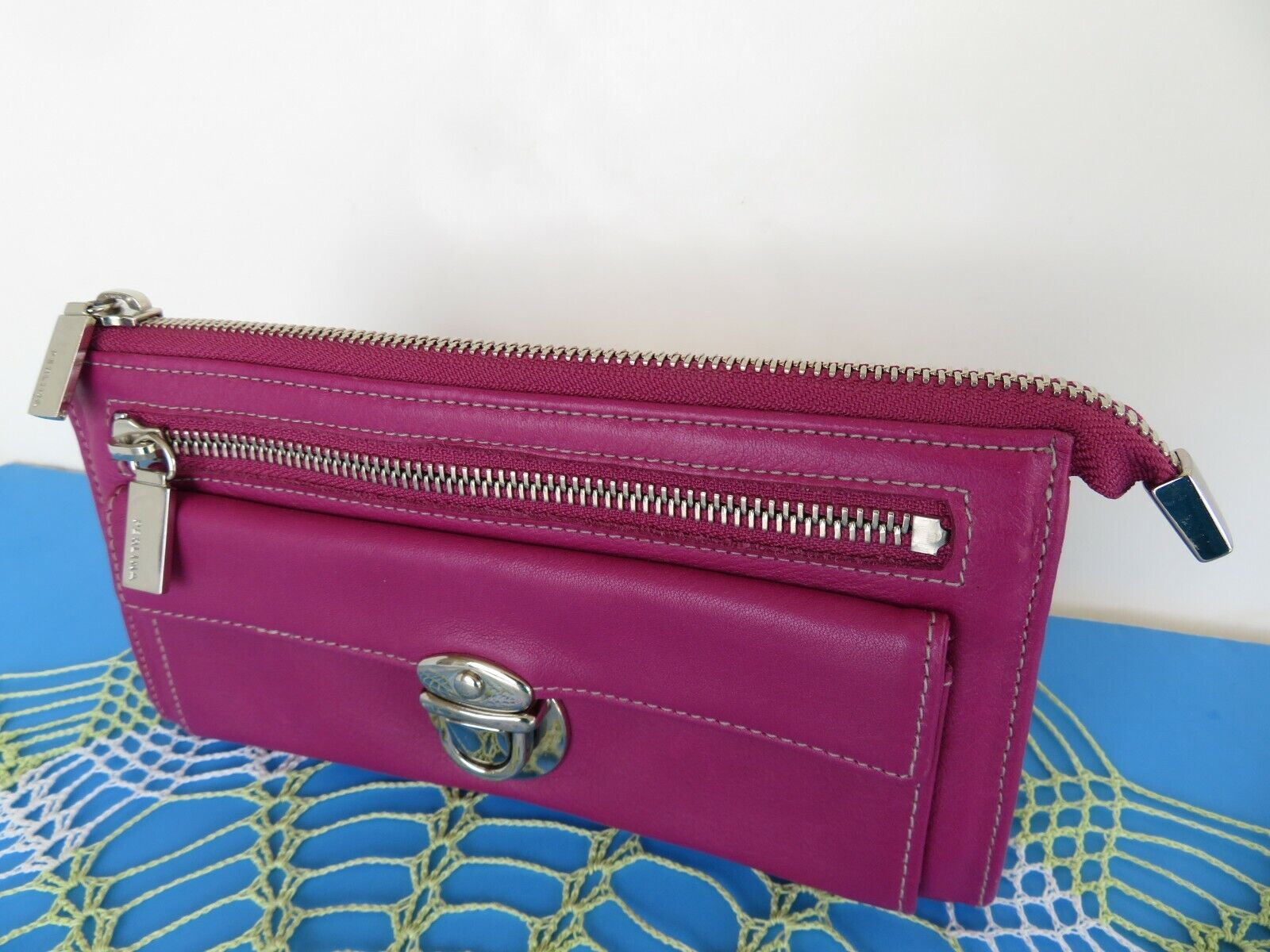 Perlina ~ Pink-Fuchsia Leather Zip Wallet Clutch Lots of Pockets 7.5