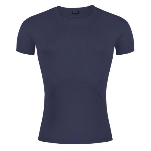 New Mens Slim Fit T Shirt Short Sleeve Muscle Gym Crew Neck Plain Cotton Top Lot