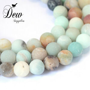 47-x-Frosted-Natural-Amazonite-Round-Bead-strand-stone-8-8-5mm-Hole-1mm