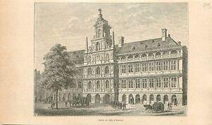 L-hotel-de-ville-d-039-Anvers-Antwerpen-Het-stadhuis-GRAVURE-ANTIQUE-OLD-PRINT-1880