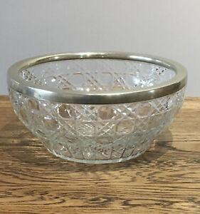 Vintage-Cut-Glass-Bowl-Silver-Plate-Rim-Fruit-Bowl-21-5x-10-Cm