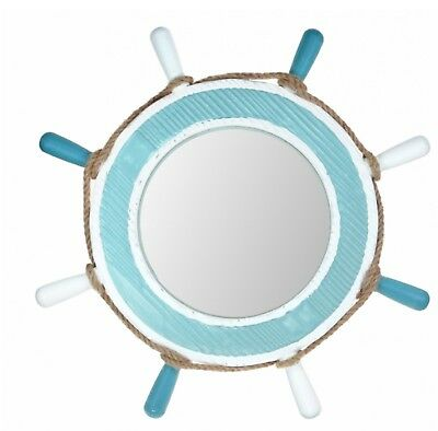 Ships Wheel Wooden Mirror In Blue And