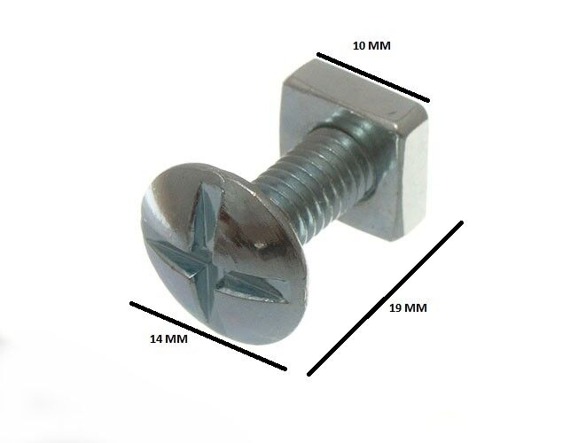 120 By Roofing Bolts Cross Head + Square Nuts ZP 8MM By 16MM