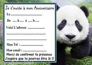 5 cartes invitation anniversaire panda 02 d 39 autres cartes en boutique animaux ebay. Black Bedroom Furniture Sets. Home Design Ideas