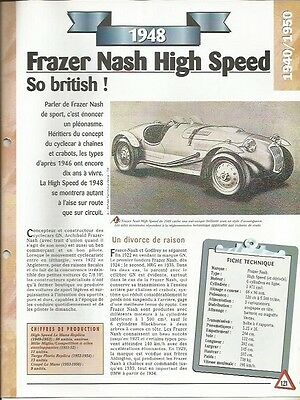 Voiture Frazer Nash High Speed Fiche Technique Auto 1948 Collection Car Processi Di Tintura Meticolosi
