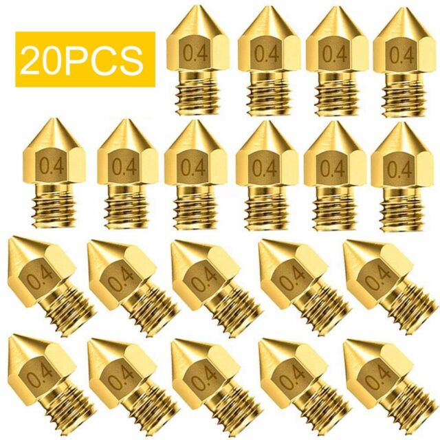 19Pc 0.2~1.0mm MK8 Extruder Nozzle For Makerbot Creality CR-10 Ender 3D Printer~